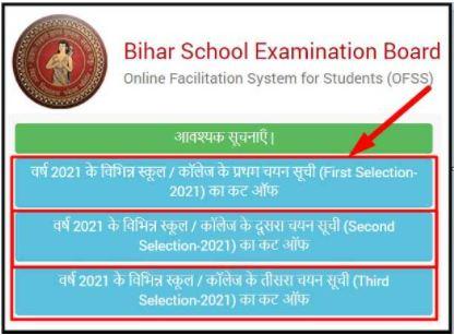 OFSS Bihar Inter Merit List Check